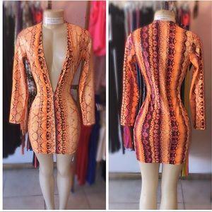 Dresses & Skirts - Orange Snake Skin Dress